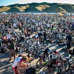 Thousands rack their bikes shortly before the elite's start.